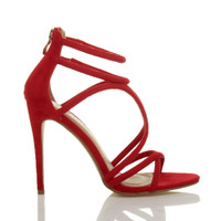 Right side view of Red Suede High Heel Strappy Crossover Barely There Sandals