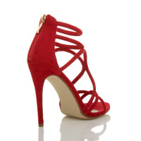 Back right side view of Red Suede High Heel Strappy Crossover Barely There Sandals