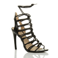 Front right side view of Black PU High Heel Strappy Ghillie Sandals