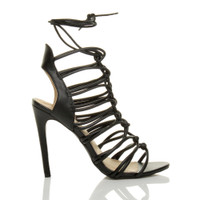 Right side view of Black PU High Heel Strappy Ghillie Sandals
