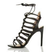 Left side view of Black PU High Heel Strappy Ghillie Sandals