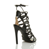 Back right side view of Black PU High Heel Strappy Ghillie Sandals