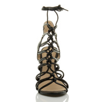 Front view of Black PU High Heel Strappy Ghillie Sandals