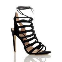 Front right side view of Black Suede High Heel Strappy Ghillie Sandals