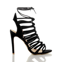 Right side view of Black Suede High Heel Strappy Ghillie Sandals