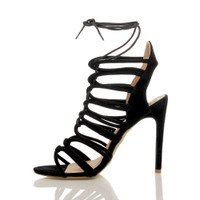 Left side view of Black Suede High Heel Strappy Ghillie Sandals