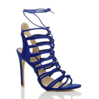 Front right side view of Blue Suede High Heel Strappy Ghillie Sandals