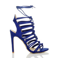 Right side view of Blue Suede High Heel Strappy Ghillie Sandals