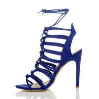 Left side view of Blue Suede High Heel Strappy Ghillie Sandals