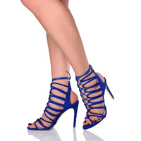 Closeup view of features of Blue Suede High Heel Strappy Ghillie Sandals