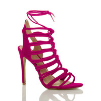 Front right side view of Fuchsia Pink Suede High Heel Strappy Ghillie Sandals