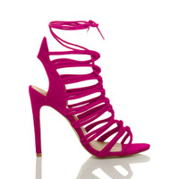 Right side view of Fuchsia Pink Suede High Heel Strappy Ghillie Sandals