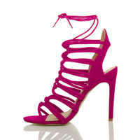 Left side view of Fuchsia Pink Suede High Heel Strappy Ghillie Sandals