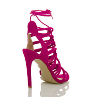 Back right side view of Fuchsia Pink Suede High Heel Strappy Ghillie Sandals