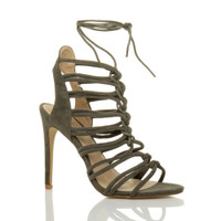 Front right side view of Khaki Suede High Heel Strappy Ghillie Sandals