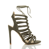 Right side view of Khaki Suede High Heel Strappy Ghillie Sandals