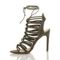Left side view of Khaki Suede High Heel Strappy Ghillie Sandals