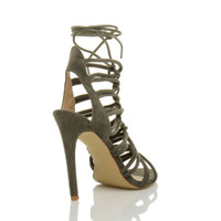 Back right side view of Khaki Suede High Heel Strappy Ghillie Sandals