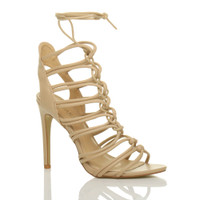 Front right side view of Nude PU High Heel Strappy Ghillie Sandals