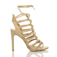 Right side view of Nude PU High Heel Strappy Ghillie Sandals