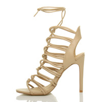 Left side view of Nude PU High Heel Strappy Ghillie Sandals