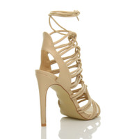 Back right side view of Nude PU High Heel Strappy Ghillie Sandals