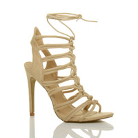 Front right side view of Nude Suede High Heel Strappy Ghillie Sandals
