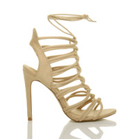 Right side view of Nude Suede High Heel Strappy Ghillie Sandals