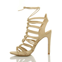 Left side view of Nude Suede High Heel Strappy Ghillie Sandals