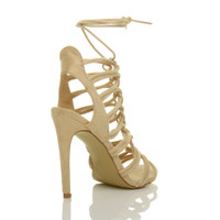 Back right side view of Nude Suede High Heel Strappy Ghillie Sandals