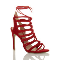 Front right side view of Red Suede High Heel Strappy Ghillie Sandals