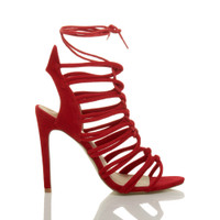 Right side view of Red Suede High Heel Strappy Ghillie Sandals