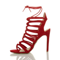 Left side view of Red Suede High Heel Strappy Ghillie Sandals
