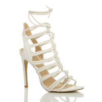 Front right side view of White PU High Heel Strappy Ghillie Sandals