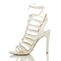 Left side view of White PU High Heel Strappy Ghillie Sandals