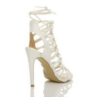 Back right side view of White PU High Heel Strappy Ghillie Sandals