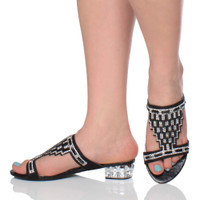 Model wearing Black Low Heel Diamante Gem Mules Sandals