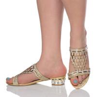 Model wearing Gold Low Heel Diamante Gem Mules Sandals