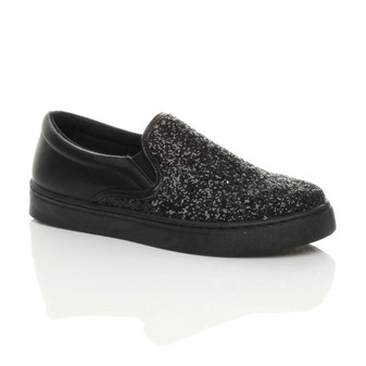 Front right side view of Black Glitter Flat Glitter Trainers Skate Shoes