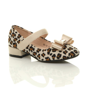Front right side view of Beige Leopard Childrens Mary Jane Strap Bow Heeled Shoes