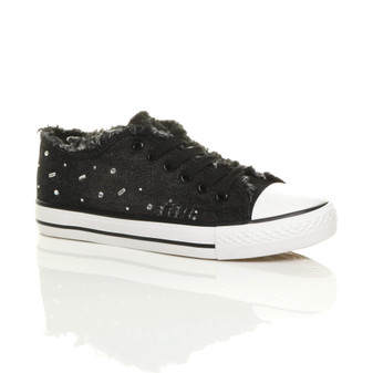 Front right side view of Black Flat Denim Diamante Plimsolls Trainers Sneakers