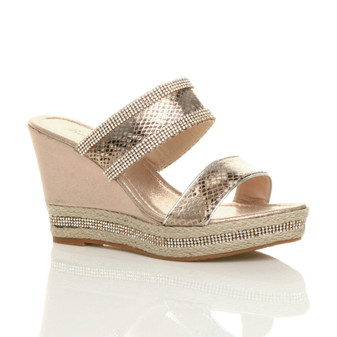 Front right side view of Rose Gold High Wedge Heel Diamante Platform Sandals Espadrilles