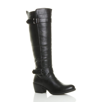 Front right side view of Black PU Mid Heel Calf Western Biker Knee Boots