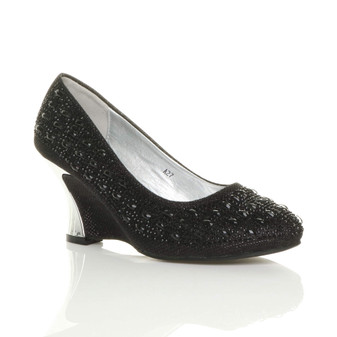 Front right side view of Black Mid Wedge Heel Diamante Court Shoes