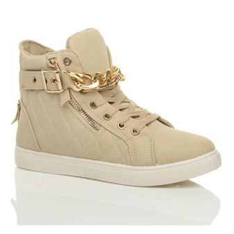 Front right side view of Beige PU Gold Chain Lace Up Quilted Trainers