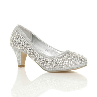 Front right side view of Silver Mid Heel Diamante Gems Court Shoes