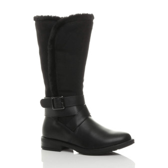 Front right side view of Black PU Flat Low Heel Fur Trim Buckle Contrast Zip Calf Riding Boots