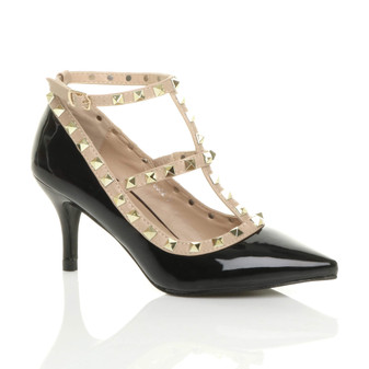 Front right side view of Black Patent Mid High Heel T-Bar Studded Pointed Court Shoes