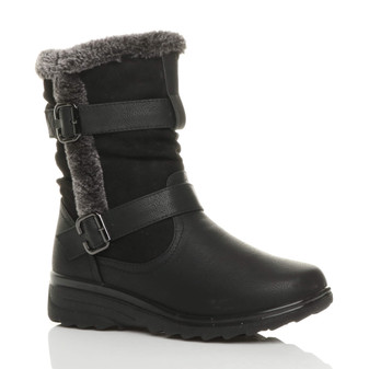 Front right side view of Black PU Low Mid Wedge Heel Grip Sole Winter Fur Lined Comfort Ankle Boots