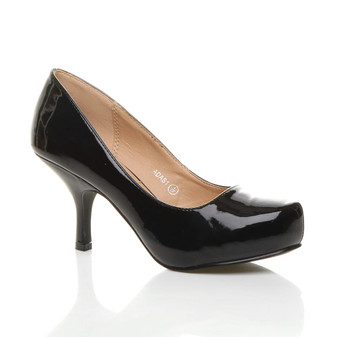 Front right side view of Black Patent Mid Heel Concealed Platform Court Shoes